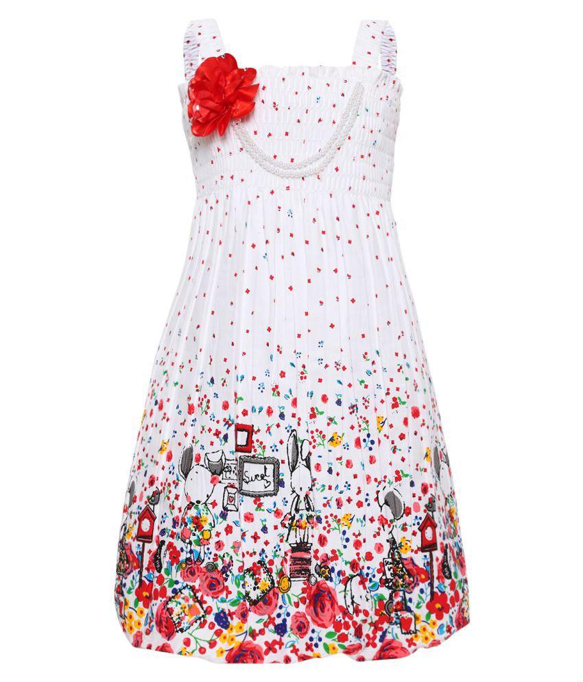 Aarika Girl's Cotton Dress (Red/White_4 - 5 Years)