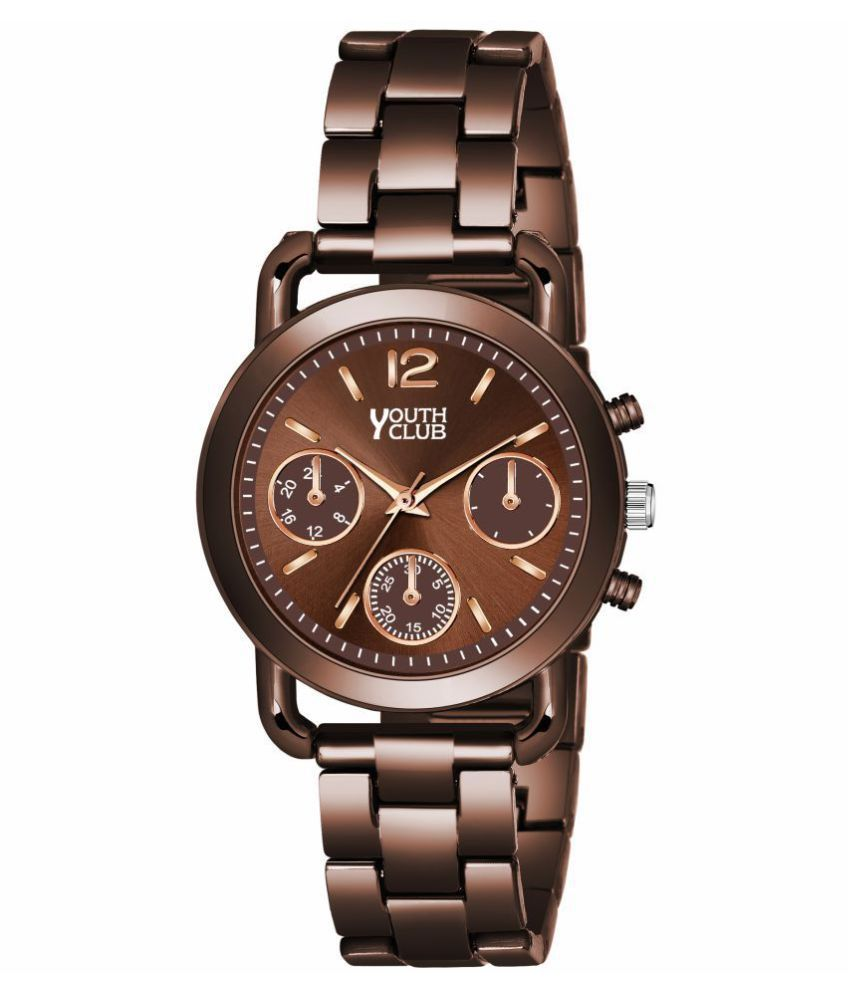 BR 4632COF New Designer Round Dial Coffee Colour Stylish Analog Watch   For Girls