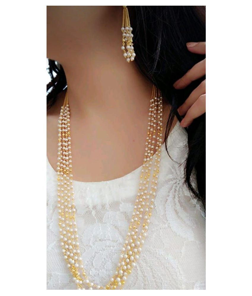 Darshini Designs Alloy Golden Contemporary Contemporary/Fashion Gold Plated Necklaces Set