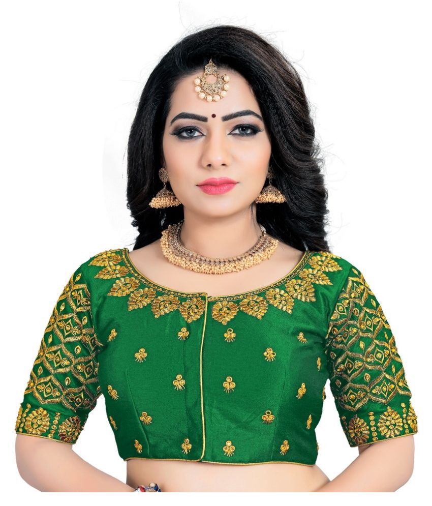 Women Blouse Green Silk Readymade without Pad Blouse