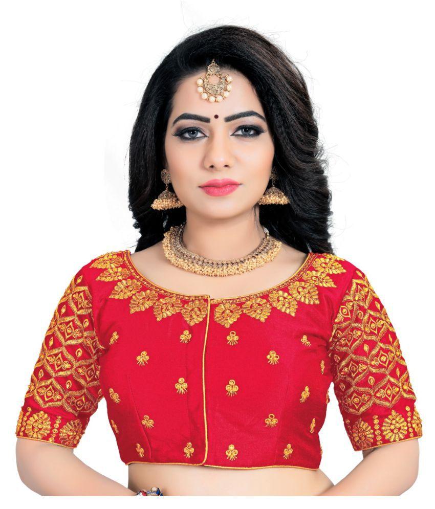 Women Blouse Red Silk Semi Stitched Blouse