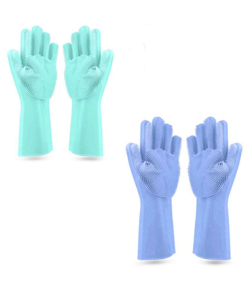 Silver Shine Magic Silicone Scrub Polyester Medium Cleaning Glove