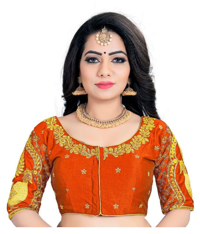 Women Blouse Orange Silk Semi Stitched Blouse
