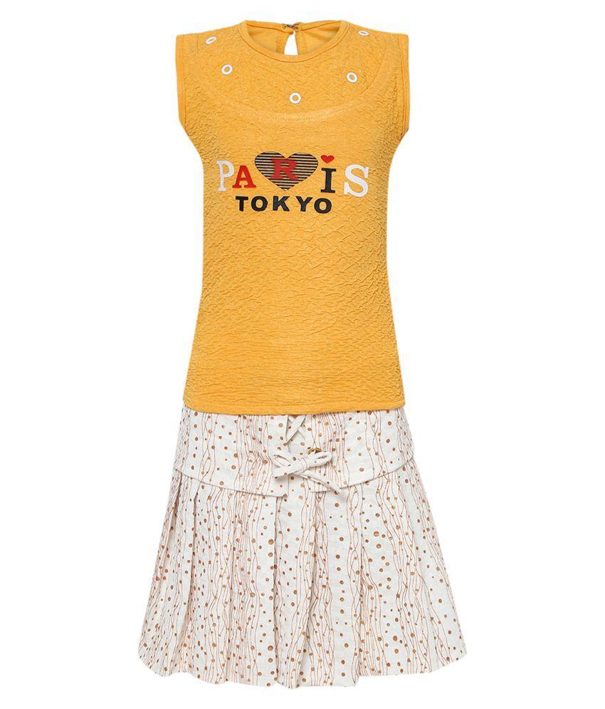 Aarika Girl's Nylon Skirt Top (Yellow_3-4 Years)