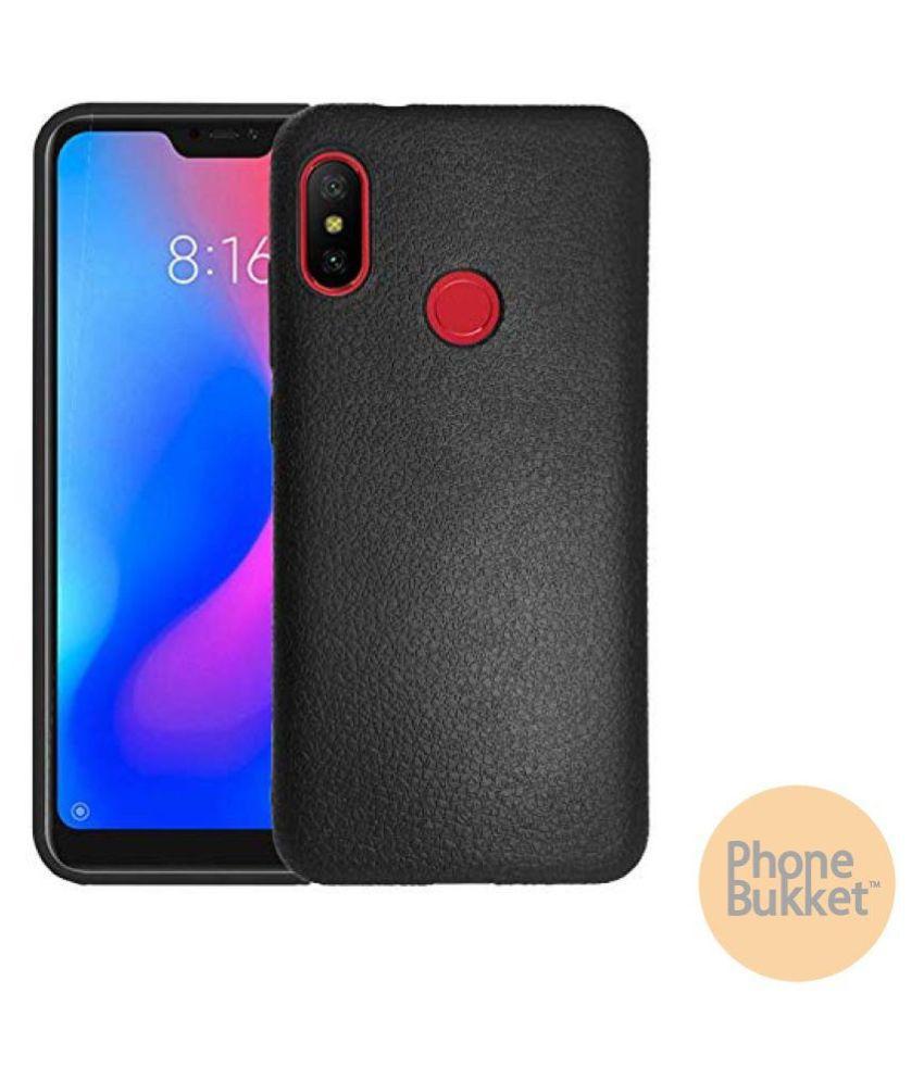 PhoneBukket Black Leather Finish Back Case Cover for Xiaomi Redmi 6 Pro