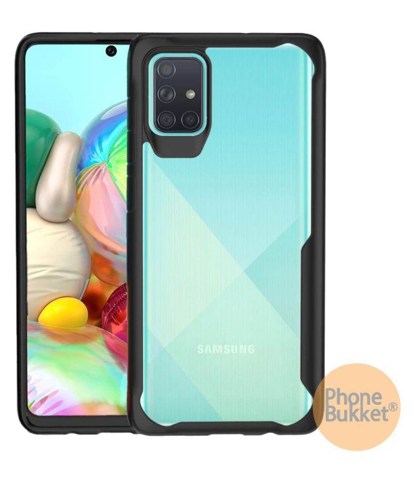 PhoneBukket® Transparent Shockproof Bumper Cover Case for Samsung Galaxy A71 (Black)