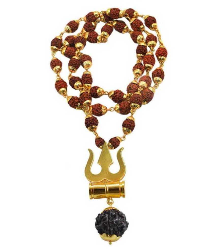 Damru Locket Sparkle Store Damru Locket With Puchmukhi Rudraksha Mala Gold-plated Brass, WoodWith Puchmukhi Rudraksha Mala Gold-plated Brass, Wood