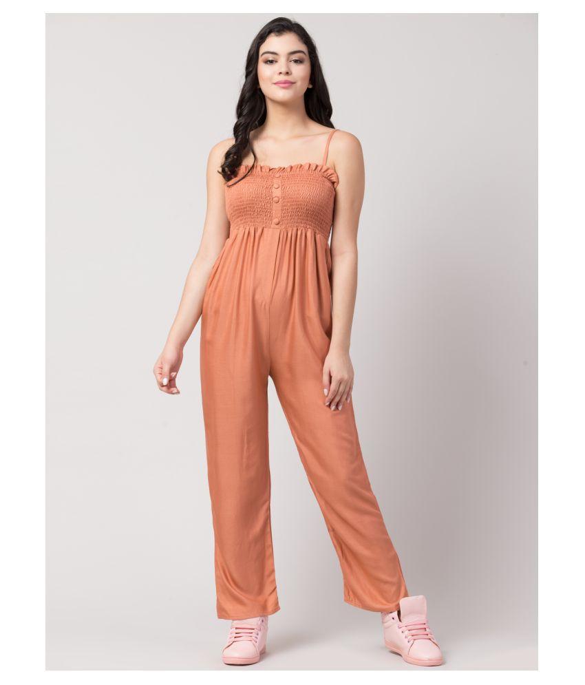 Sakshi Trader Orange Rayon Jumpsuit