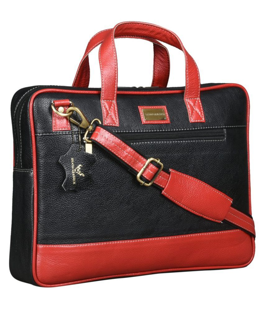 Brand Leather Black Leather Office Bag