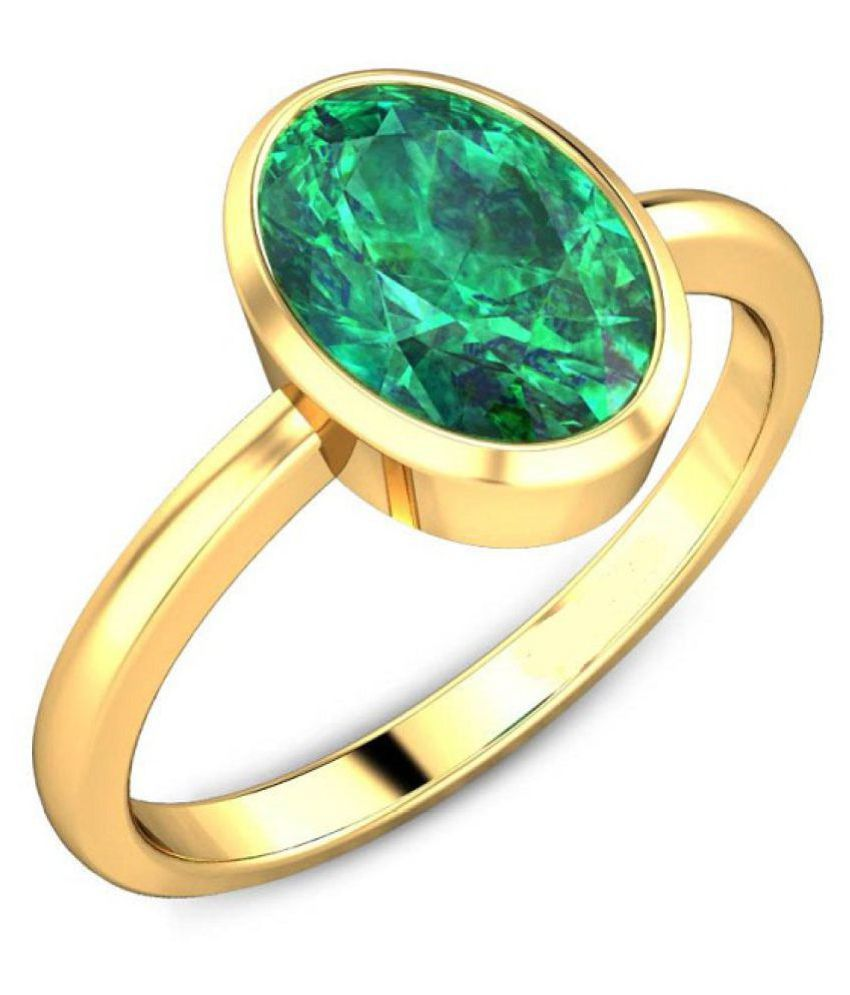 Certified Stone 6.25 Ratti Emerald Ring/Panna Ring Original Stone Panna Ring For  Unisex By CEYLONMINE