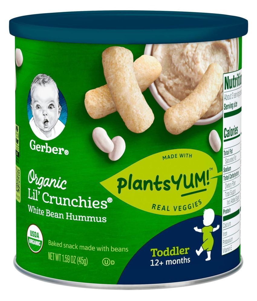 Gerber White Bean Hummus Snack Foods for 12 Months + ( 90 gm ) Pack of 2
