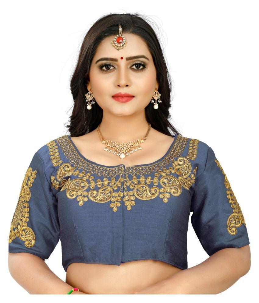 Women Blouse Grey Silk Semi Stitched Blouse