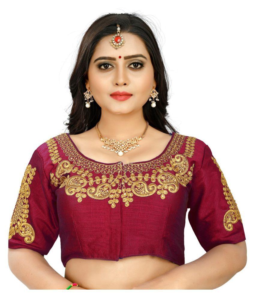 Women Blouse Maroon Silk Semi Stitched Blouse