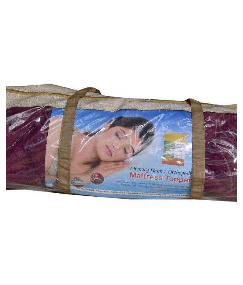 Cozymate Memory topper Maroon Knitted Mattress Protector