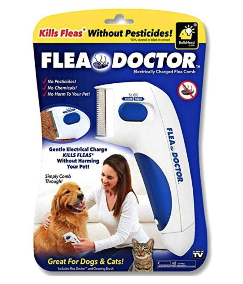 Flea Doctor Electronically charge Flea Comb for Pets, Dogs, Cats | Without Pesticides Naturally Kill Tick and Remove Fleas