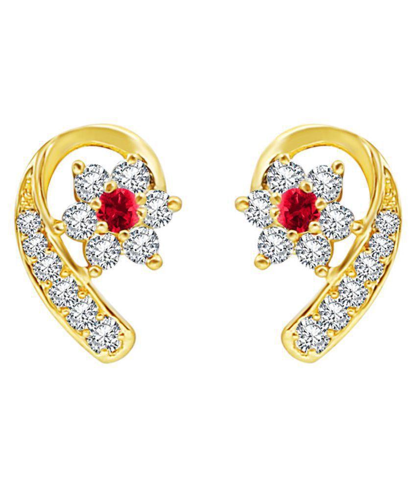 MFJ Fashion Jewellery Luxurious Brass Gold Plated Stud Earring For Women