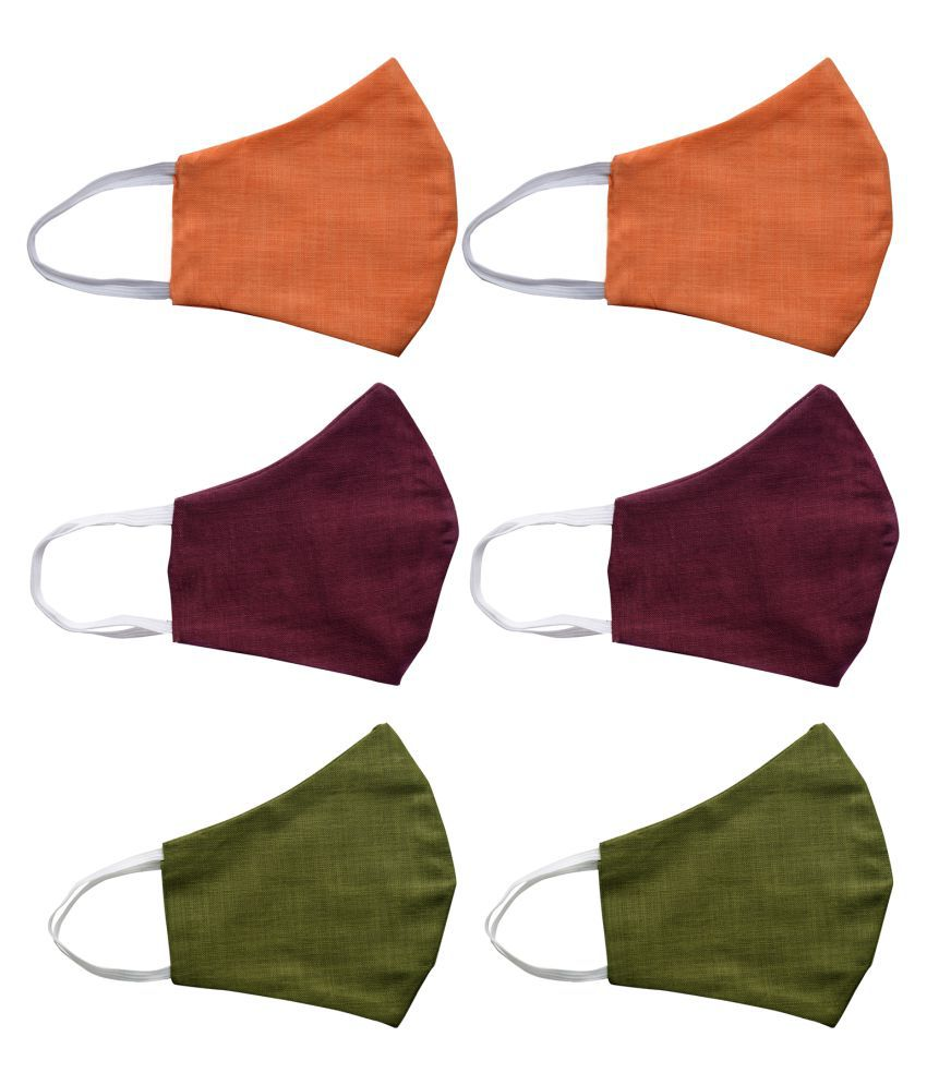 KUNDAN Pure Cotton English Color Reusable Washable Anti Pollution 3 Layer Face Mask ( Pack Of 6 Mask )