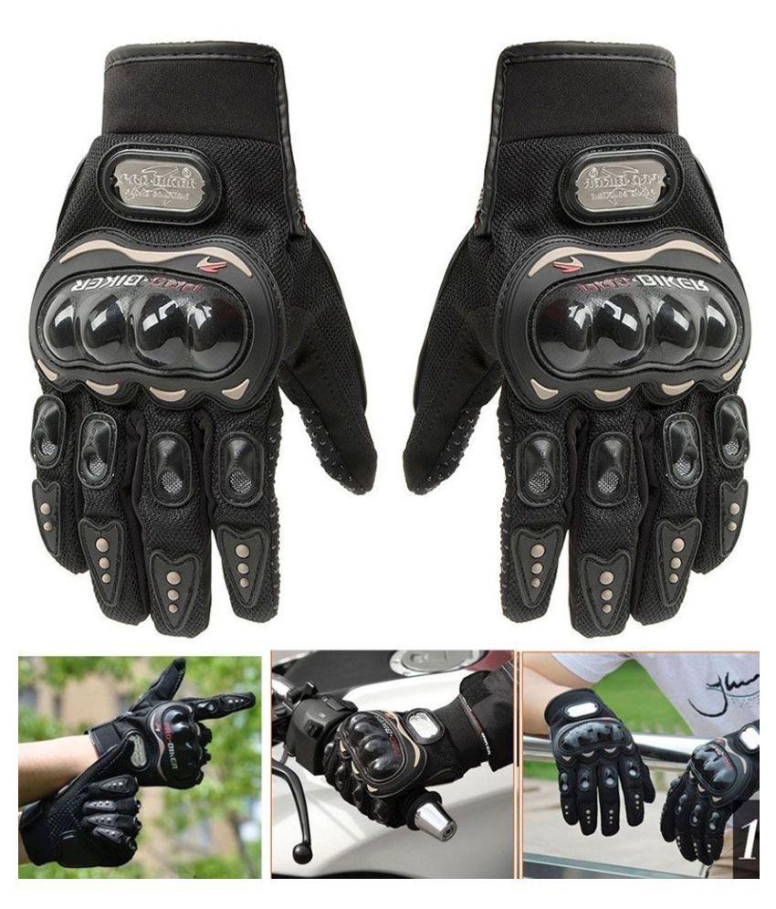 Meem Creations Pro biker / Pro Biker Biking Full Gloves Black Colour