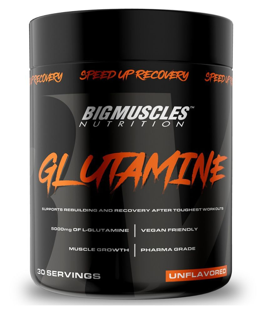 BIGMUSCLES NUTRITION Glutamine [ 30 Servings] | Muscle Growth & Recovery Intense Exercise 150 gm