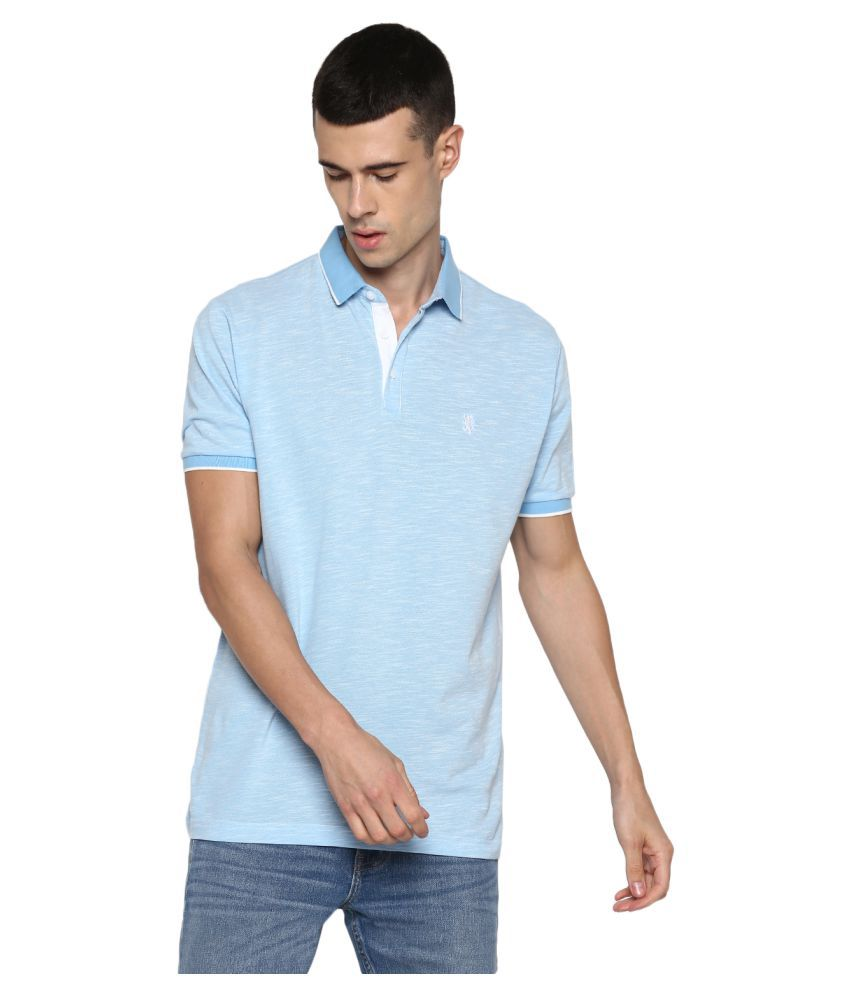 Red Tape Polyester Blue Plain Polo T Shirt