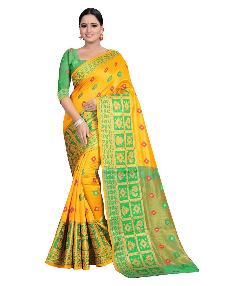 Amipara Creation Yellow Kanchipuram Saree