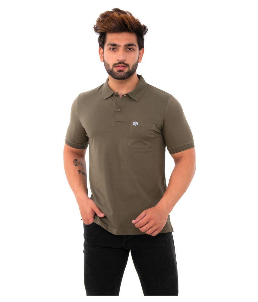 BISHOPCOTTON Cotton Lycra Green Plain Polo T Shirt