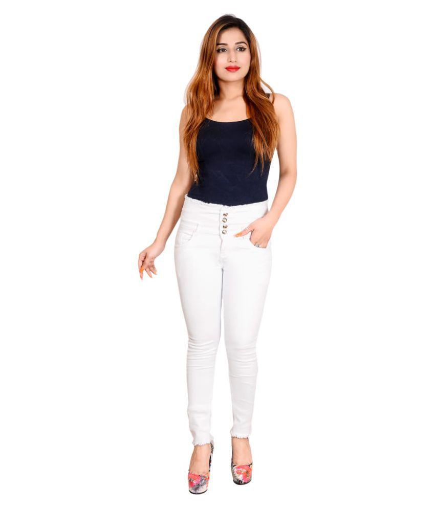 Rj Fashion Denim Jeans - White