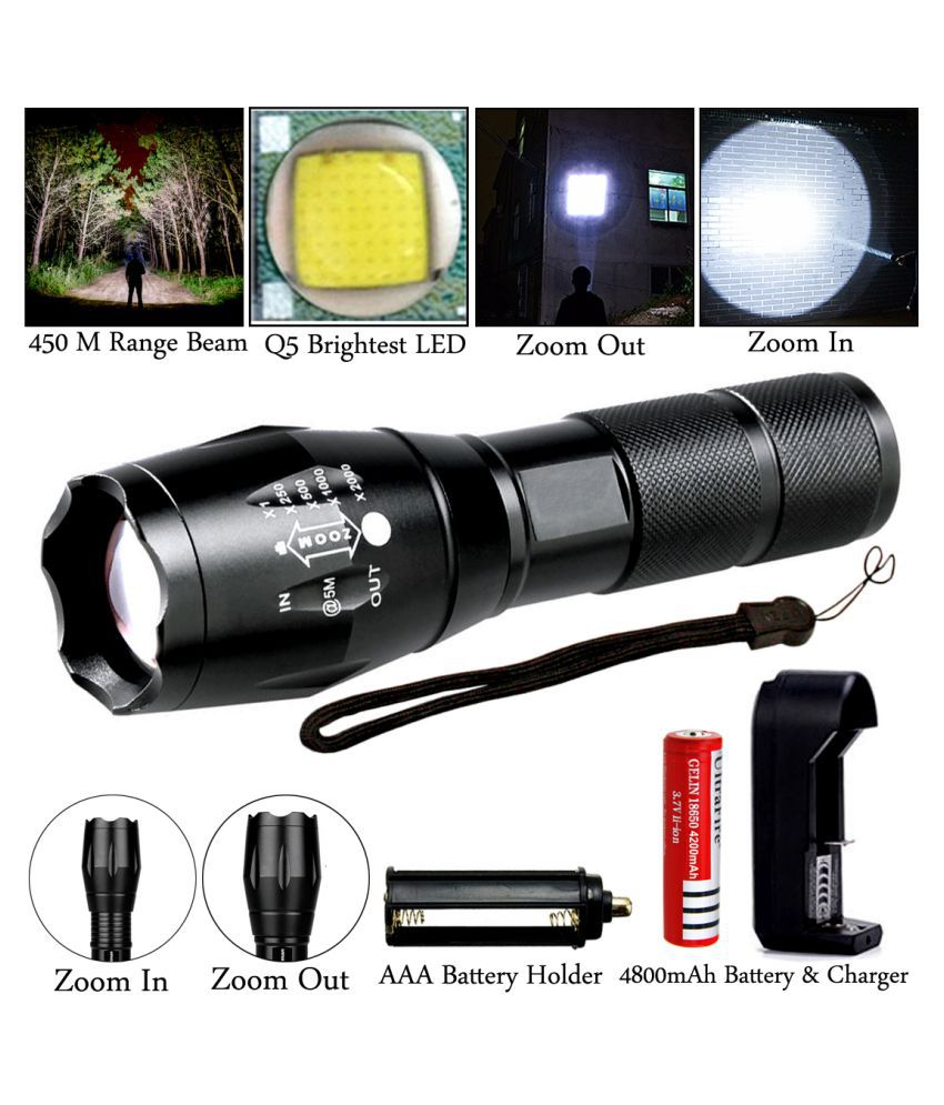 500M Zoomable 5Mode 12W Flashlight Torch Waterproof Chargeble - Pack of 1