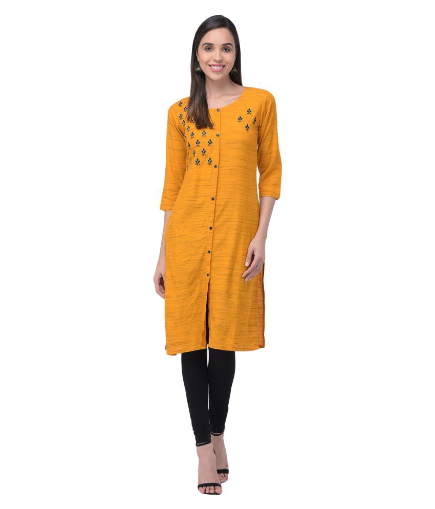 Vids Yellow Rayon Straight Kurti