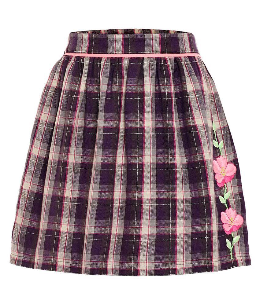 MIYO Multicolored Check Cotton Lurex Skirt