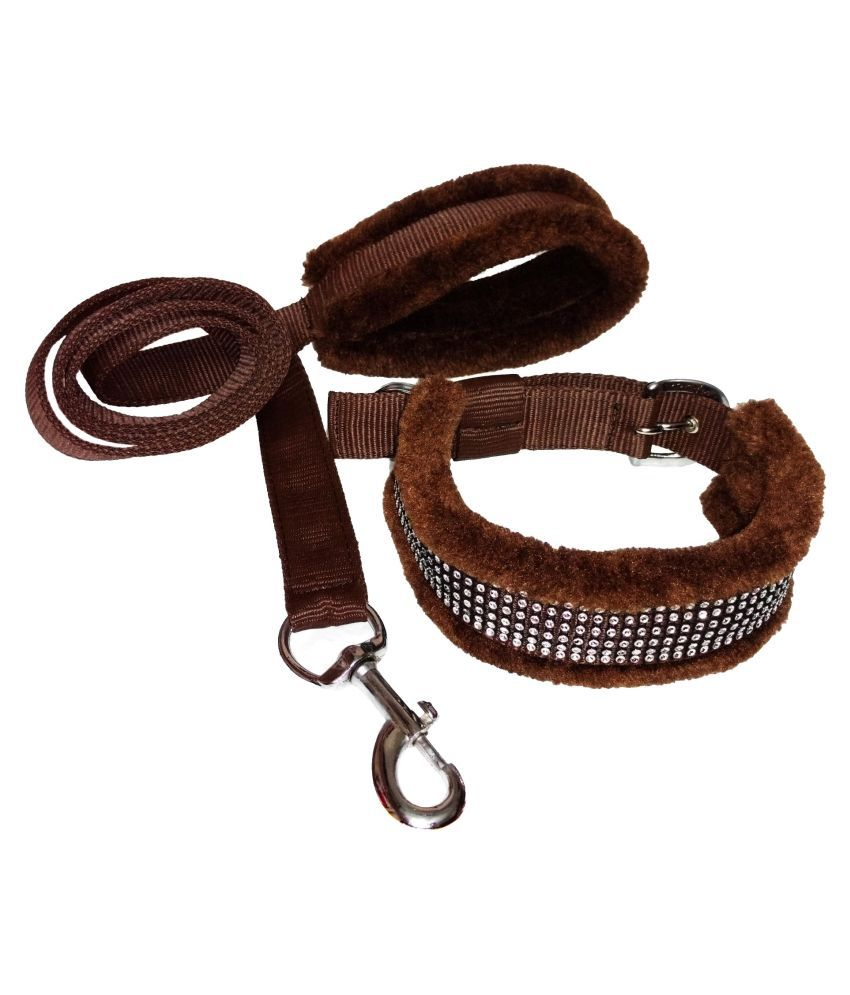 Petshop7 Premium Quality Fur Padded Nylon Dog Collar & Leash Suitable for Small & Medium Sizes (Neck Size Adjustable - 13-16inch)