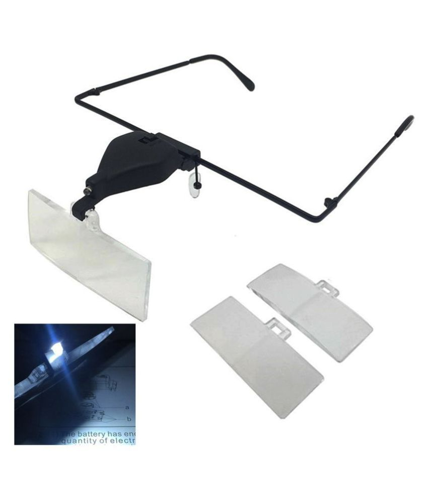 1.5X 2.5X 3.5X Head 1 LED Hand Free Magnifying Glass Magnifier Microscope