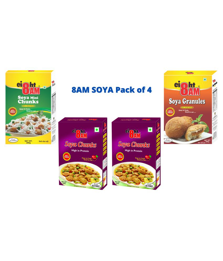 8 AM 8AM Breakfast Cereals Soya Chunks (Wadi) 800 gm Pack of 4