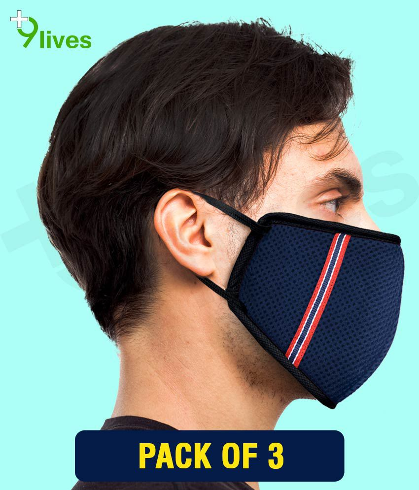 9lives 6 Layer Blue DN95 Anti Pollution Face Mask-Pack of 3