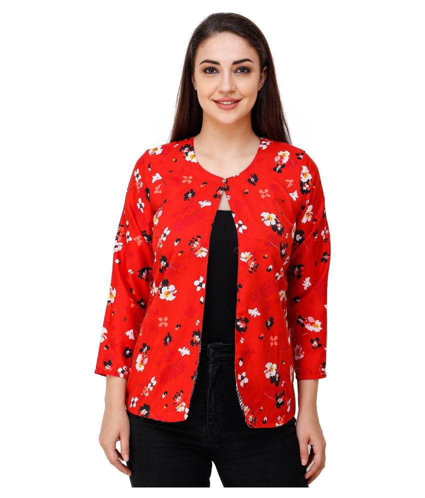Adyuth Polyester Blend Summer Blazers - Red