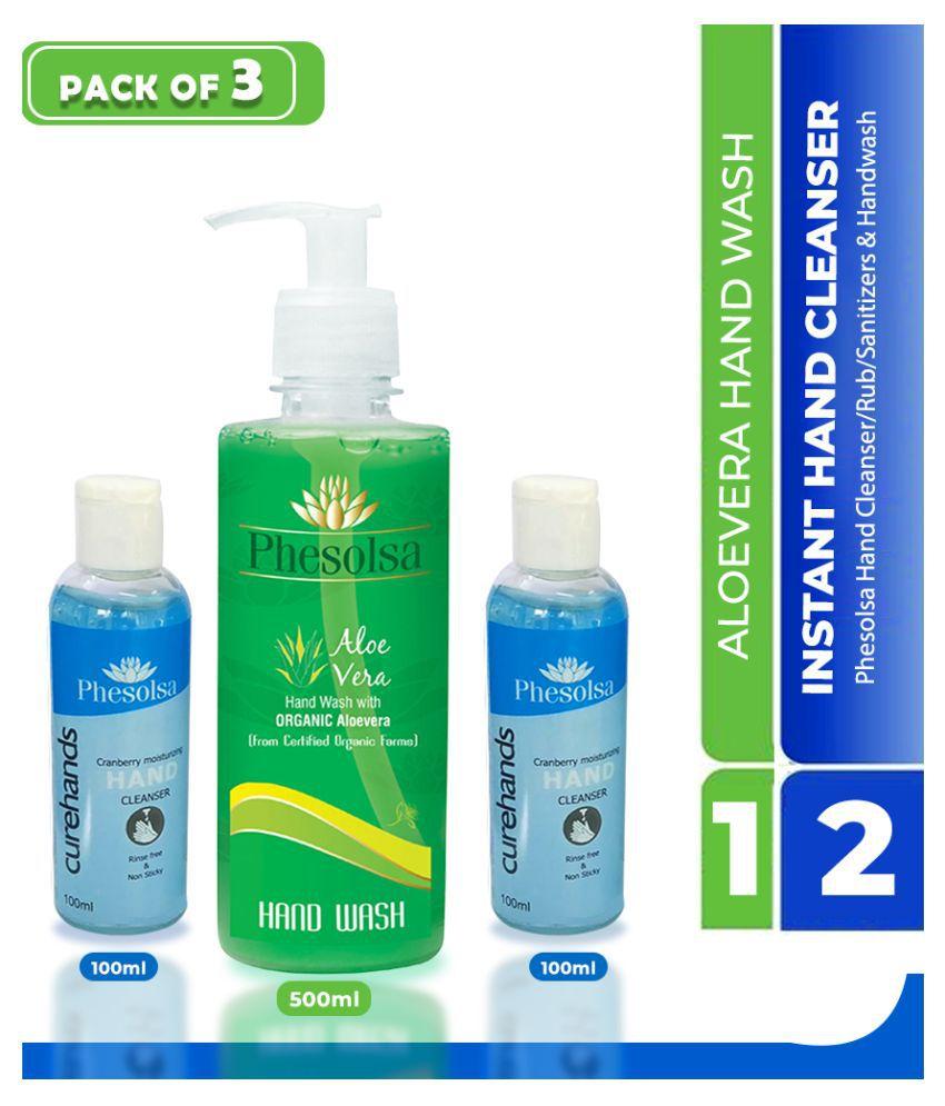 Phesolsa 2 Hand Cleanser and 1 Aloevera Handwash 700 mL Pack of 3
