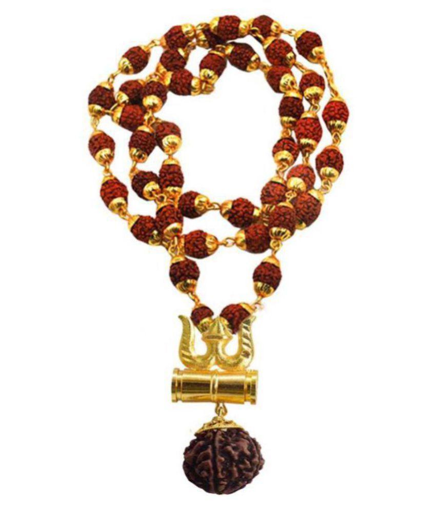 bhawna collection Loard Shiv Trishul Damru Locket With Puchmukhi Rudraksha Mala