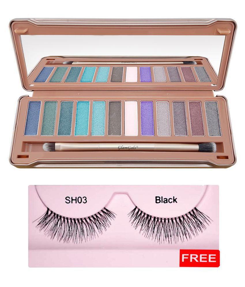GlamGals 12color Eyeshadow + Free Eye lash HOLLYWOOD-U.S.A  Eyes Powder Colours 15 g