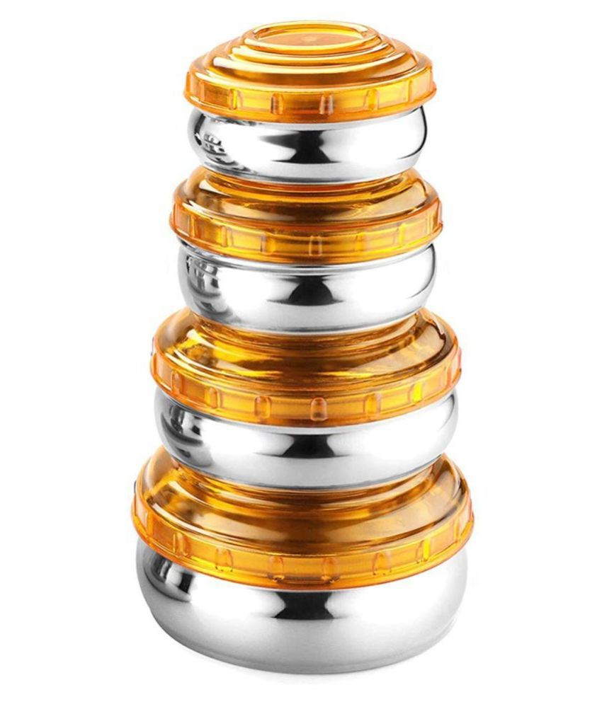 WIBSIL Storage set Yellow Steel Spice Container Set of 4 1650 mL