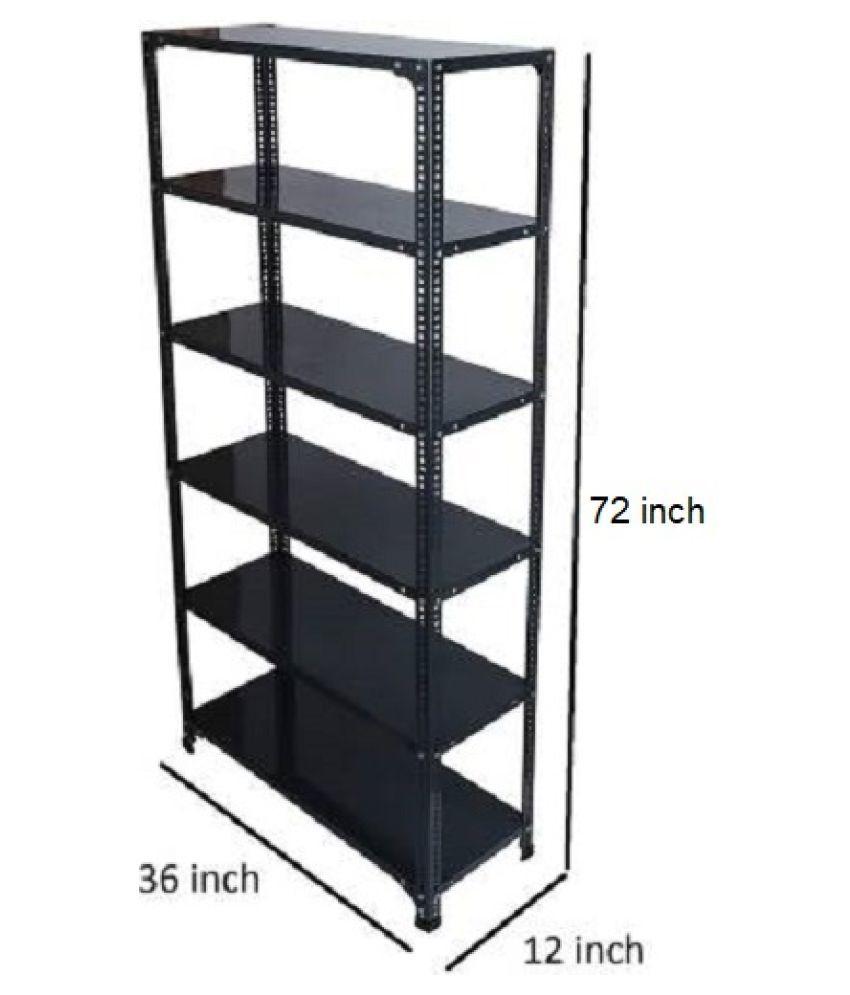 6 Shelf Slotted Angle Rack, 12x36x72 Inch, 22 Gauge sheet, 18 Gauge Angle Luggage Rack