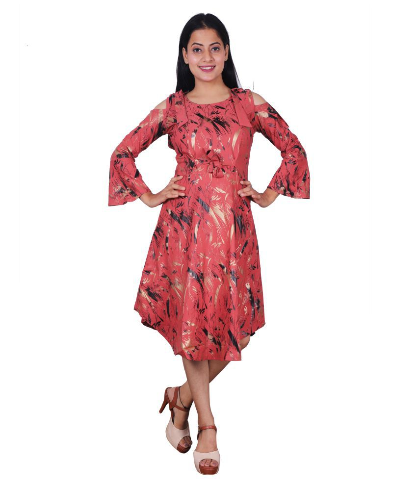 Miss N World Poly Crepe Pink Fit And Flare Dress