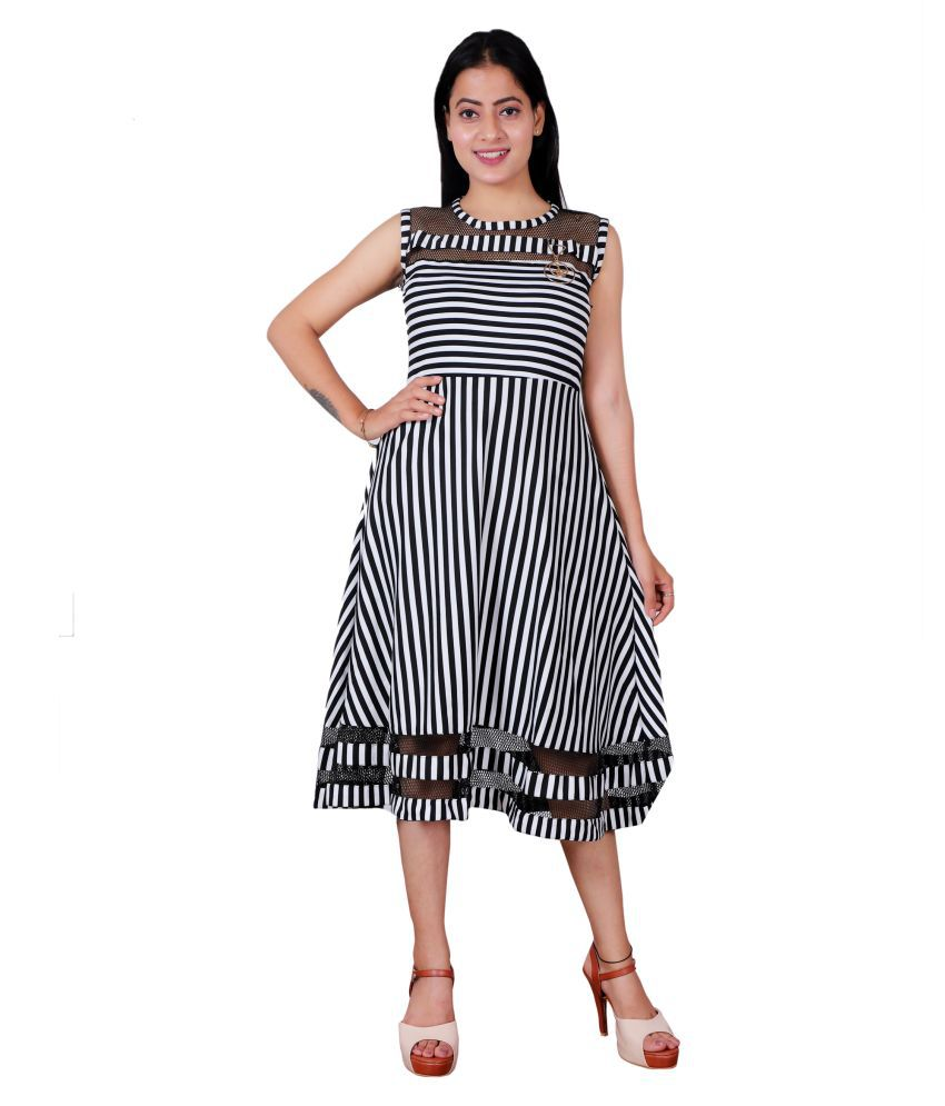 Miss N World Poly Crepe Black Fit And Flare Dress