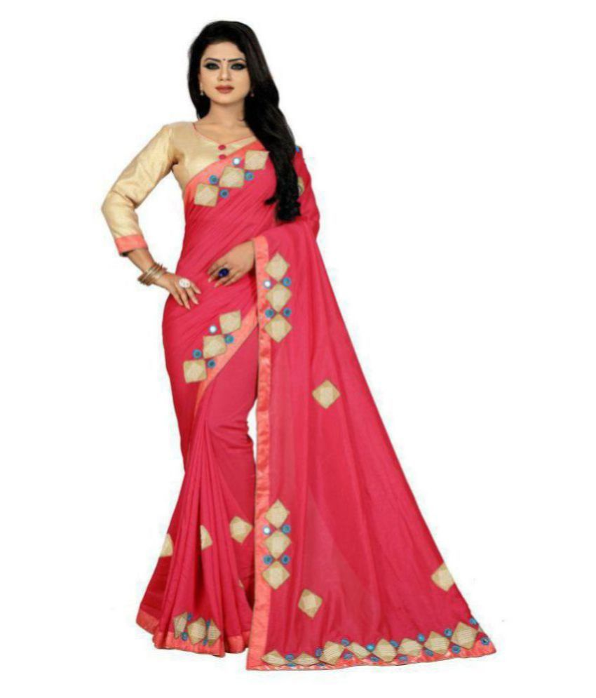ofline selection Beige,Pink Silk Saree