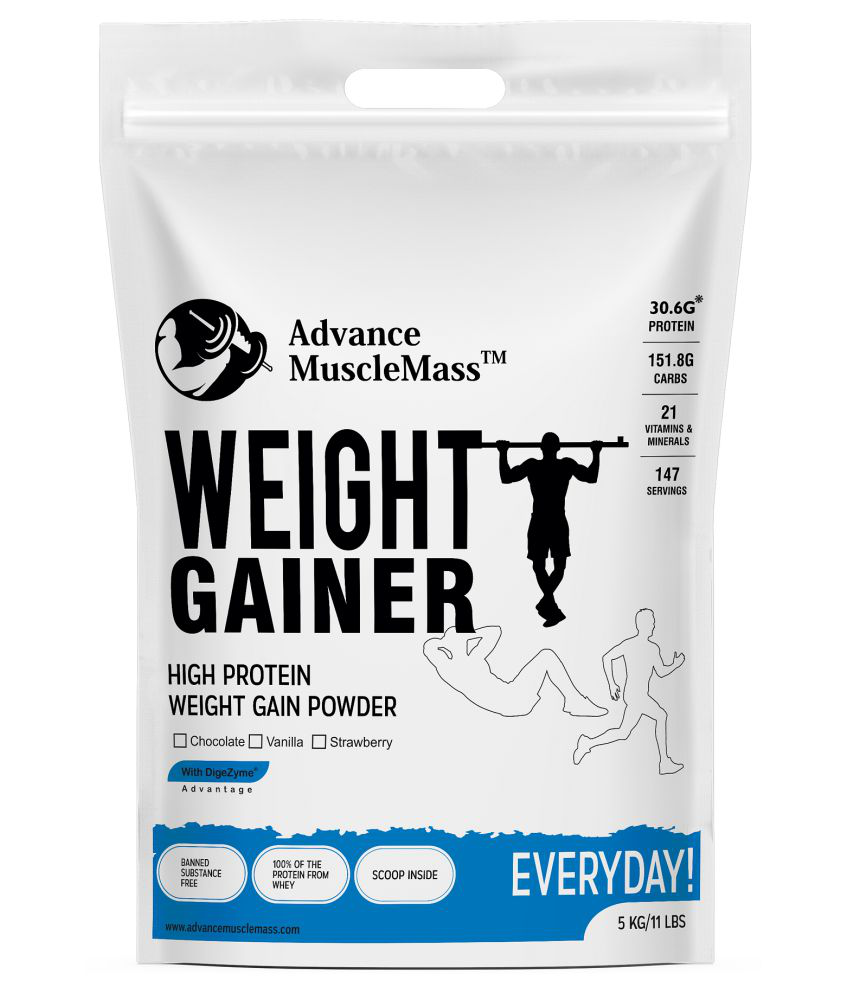 Advance MuscleMass Weight Gainer with Digestive Enzyme Blend 5 kg Weight Gainer Powder