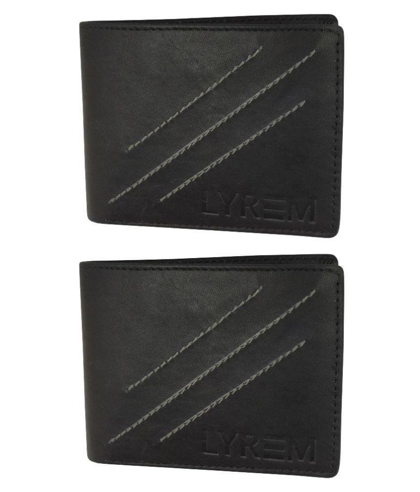 LYREM Leather Black Fashion Regular Wallet