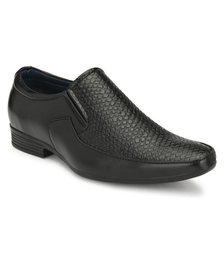 Leeport Slip On Artificial Leather Black Formal Shoes
