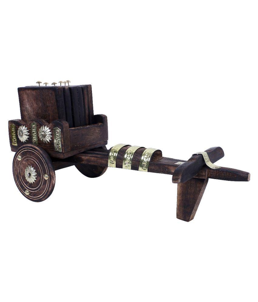 Fashion Art Brown Wood Handicraft Showpiece - Pack of 2