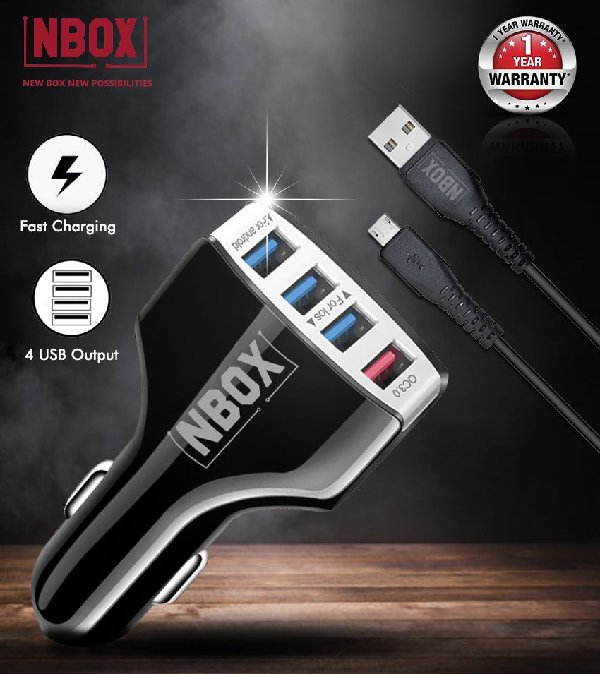NBOX 9.6 Amp/48W 4-Port USB Car Charger (Qualcomm Quick Charge) With Micro USB Cable (LZ-KC08, Black)