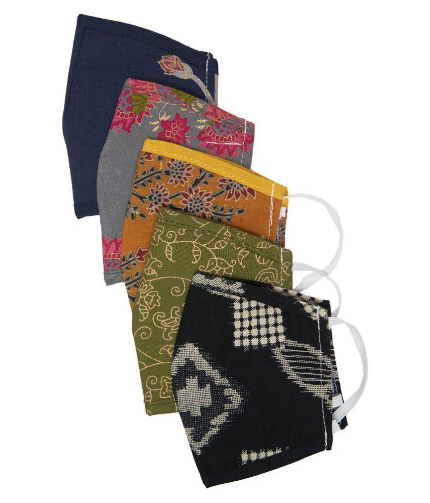 Myshka Unisex Printed Reusable Pack of 5 Outdoor Masks