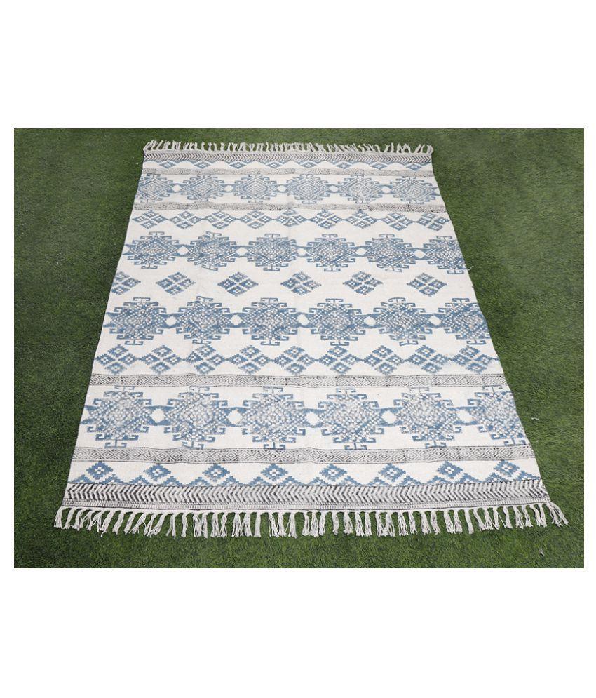 Bhavya International Blue Cotton Carpet Geometrical 4x6 Ft